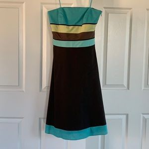 Loft strapless colorblock dress size 0 XS
